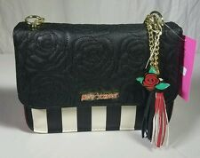 NWT BETSEY JOHNSON Black & White Stripe w/ Red Crossbody Purse MSRP $68
