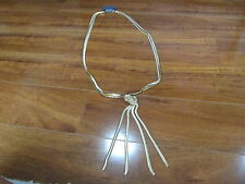 NEW EXPRESS Long 2 Strand Snake Chain Necklace with Knot Gold Tone $49.90
