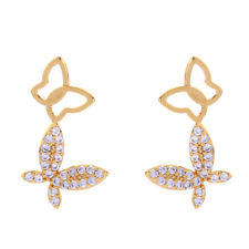 KISS ME 925 Silver Post Gold CZ Cubic Zirconia Butterfly Drop Earrings me00134