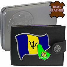 BARBADOS Klassek Mens Leather Wallet BARBADIAN Flag map Emblem gift Metal box