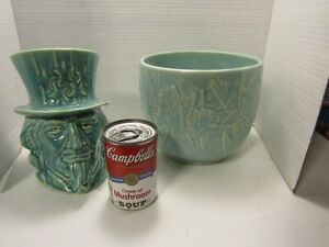 vintage lot of 2 McCoy AS IS pottery planters..NM marked Butterfly/Uncle Sam