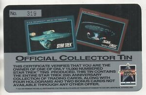 Star Trek 25th Anniversary Offical Collectors TIN Certificate Card No.319