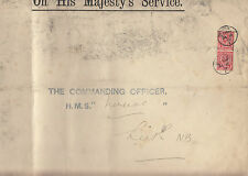 Stamps England 1d x 2 Edward 7th on OHMS cover HMS Nereide to ship commander