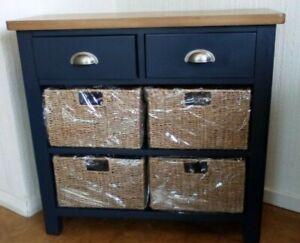 EX DISPLAY Midnight Blue /Natural Oak Top 2 Drawer & 4 Baskets  Sideboard