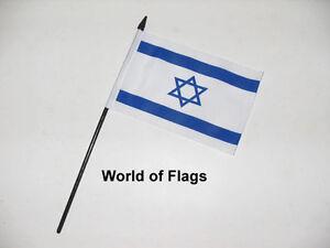 "ISRAEL SMALL HAND WAVING FLAG 6"" x 4"" Israeli Star of David Table Desk Display"
