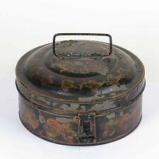 Antique spice box tole painted black round original tins primitive metal 19th c