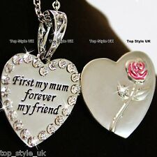 Silver Crystal Heart Necklace Unique Pink Rose Xmas Gifts for Her Women Mother