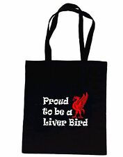 LIVER BIRD LIVERPOOL - BLACK COTTON SHOPPING/SCHOOL/TOTE BAG