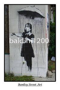 "BANKSY STREET ART ""UMBRELLA GIRL"" - LARGE PHOTO LOOKS GREAT FRAMED -"