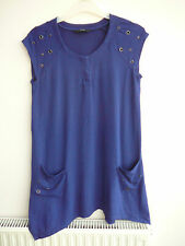 Blue Studded Sleeveless Top With Asymmetrical Hem By Marks & Spencer Size 12