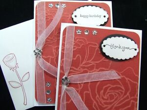 LOT 2 Handmade HAPPY BIRTHDAY & THANK YOU Cards Using STAMPIN UP Embossed