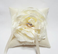 Wedding Ring Pillow Handmade Beautiful Ivory Flower on Ivory Satin Pillow