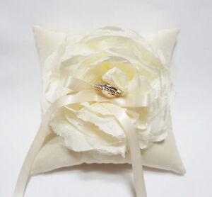 Wedding Ring Pillow Handmade Beautiful Ivory Flower on Ivory Satin Pillow