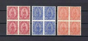 Paraguay 1870 Lion blue red and orange Reproduction of reprints blocks 4 MNH