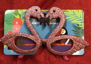 Glittered Flamingo Fancy Frame Sun Glasses Costume Dress Up Luau Party