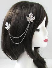 Silver leaf chaînes de cheveux clips headpiece vintage 1920 Grecian tambour nuptiale T64