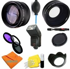 58MM WIDE ANGLE+TELEPHOTO ZOOM+FLASH KIT FOR CANON REBEL EOS T3I T4I T5I T6 T6I