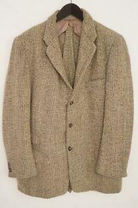 Men Harris Tweed Blazer Beige Vintage 80's Scottish Wool EU50 UK/US40 M HB784