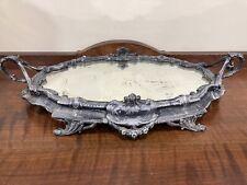 Vintage Ornate Metal Mirrored Vanity Tray