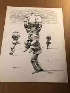 Rare Original Illustration Art Drawing Political Cartoon Piggy Nik Puspurica 70s