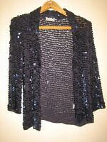 A LOVELY DARK BLUE SHOULDER PADDED SEQUIN JACKET SIZE SMALL PIT-PIT 18""