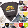 Womens Blouse Tee Rainbow Basic Shirt Summer Ladies Loose Casual Tops Crew neck