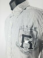 Red Camel RC Men's Size M Mediun Button Down Shirt White Gray Vertical Stripes