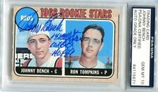 Johnny Bench 3inscrips Signed 1968 Topps Rookie Card RC Psa graded mint 10 auto