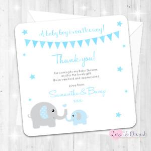 Mummy & Baby Elephant Personalised Thank You Cards BABY SHOWER/SPRINKLE Blue BOY