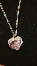 SISTER NECKLACE, CLEAR RHINESTONE HEART. CHRISTMAS BIRTHDAY AND MORE