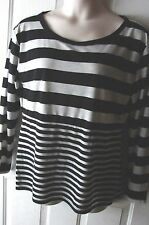 Apostrophe black and grey striped top womens juniors size XL