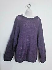 """Lairds of Scotland L/S MOHAIR Sweater in Purple Sz OS Roomy Chest 56"""""""