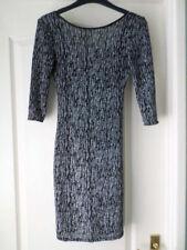 NEW LOOK Black/Silver Glitter Bodycon Dress Size 8 BNWOT
