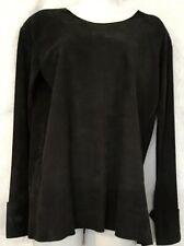 Balmain Top Black Lamb Skin Long Cuffed Sleeve Crew Zipper Neck Size 34