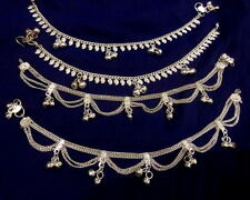 Tribal lot 4 silver bells paisley chain anklet ankle bracelet Indian jewelry 10""