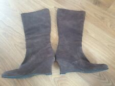 Beautiful Brown Fiore Mid Calf Leather Wedge Boots VGC Size 6