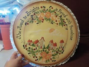 BEAUTIFUL HANDPAINTED CANVES EMBRODERY HOOP- THE ROAD TO BRIGHTS IS PAVED WITH
