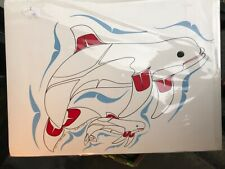 ORIGINAL DRAWING AND PAINTING BY BEN HOUSTIE MOTHER BELUGA AND CALF
