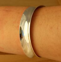 Solid 925 Sterling Silver Plain Cuff Bangle Bracelet 16mm Wide UK Hallmarked