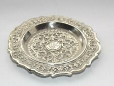 More details for antique eastern asian colonial solid silver dish, coin dish, pin dish, c1910