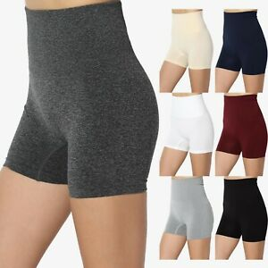 TheMogan S~3X Essential Empire Tummy Control High Waist Seamless Legging Shorts