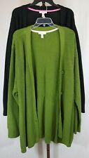 Isaac Mizrahi Womens Plus Lot Black Green Ribbed Cardigan Sweaters Size 3X