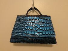 Laila Essence Of Norway Geir Ness Purse Faux Blue Reptile New With Tags