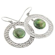 "1/8"" GREEN FRESHWATER BIWA PEARL HOOPS 925 STERLING SILVER earrings"