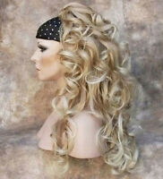 Blonde MIX 3/4 Fall Half Wig HairPiece Long Curly Layered Hair Piece Beautiful!