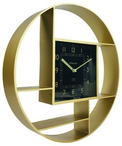 Round Multi Shelf Storage Wall Clock - Gold