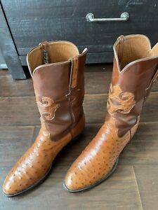 GORGEOUS Lucchese Classics Men's Ostrich Cowboy Boots Sz 12D, $1 NO RESERVE!