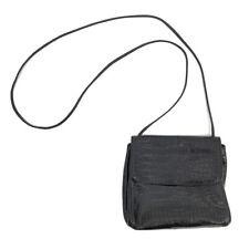 FURLA Crossbody Bag Black Crocodile Embossed Leather Flapover Magnetic Snap