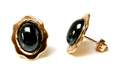 9ct Gold Hematite Oval Studs earrings Made in UK Gift Boxed