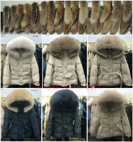 Women's Luxury white duck down jacket real fur collar coat puffer jacket outwear